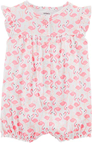 Carter's Baby Girls' Flamingo Snap up Romper 3 Months Pink/White ()