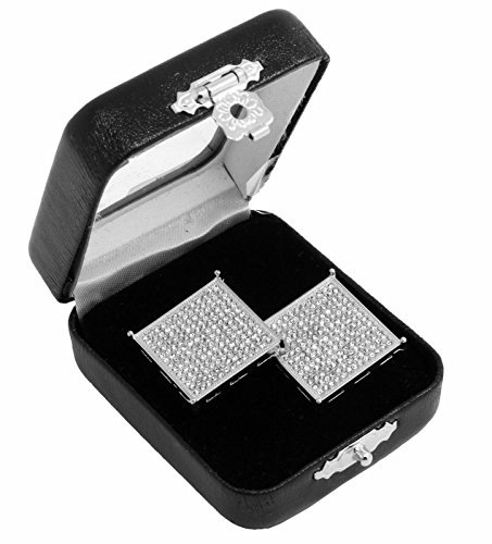 Men's Si Hip Hop Iced Out XL Large Square Screen Block Screw Back Stud Earrings (Square Jewel Box)