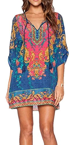 1970's Womens Dress - Women Bohemian Print V Neck Casual Dress Ethnic Style Summer Tunic Top (L, 3)