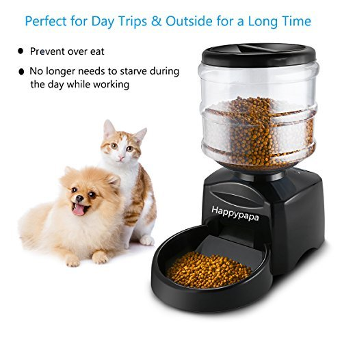 Happypapa Pet Feeder 5.5L Automatic Dog & Cat Feeder with Timer Larger LCD Screen and Voice Recorder Dogs & Cats Timer Food Dispenser Keep Your Pets Healthy