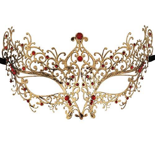 Xvevina Venetian Masquerade Masks Women (Ana Red Rhinestones) -