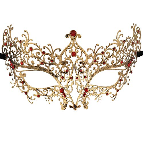 Carnival Masquerade Mask - Xvevina Venetian Masquerade Masks Women (Ana Red Rhinestones)
