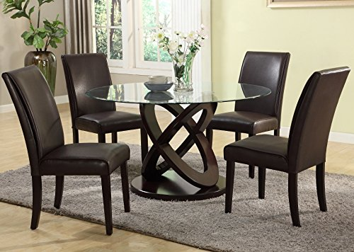 Roundhill Furniture Cicicol 5 Piece Glass Top Dining Table with Chairs, Espresso