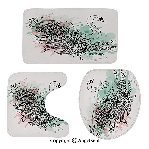Bathroom Rug Mats Set 3 Piece,Hand-Sketch-Swan-Bird-Floral-Details-and-Color-Splashes-Watercolors,Perfect Combination of Luxury and Comfort,Mint-Green-Light-Pink-Black