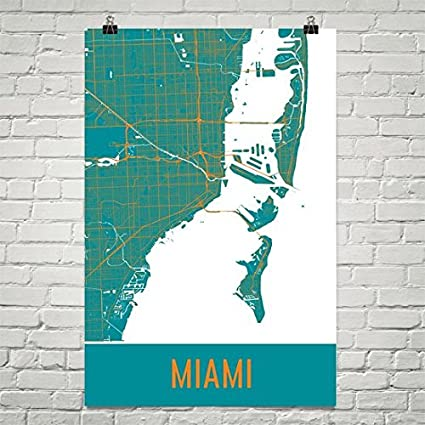 Florida City Map.Amazon Com Miami Poster Miami Art Print Miami Wall Art Miami Map