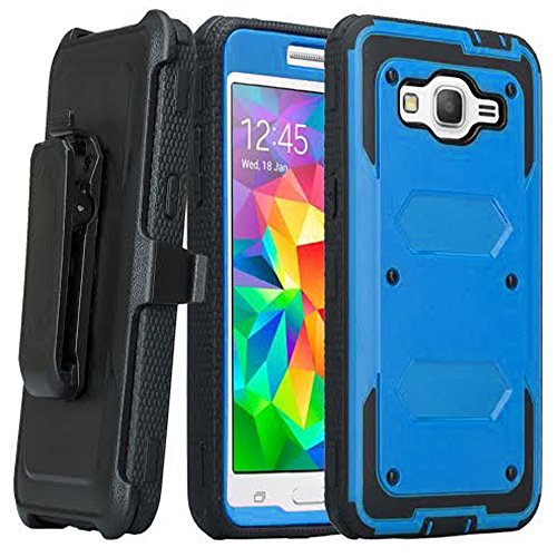 Galaxy Sky Case, Galaxy Sol Case, SOGA [Tri-Guard Series] [Shock Absorption] Armor Case Cover with Belt Clip Holster & Built-in Screen Protector for Samsung Galaxy J3 J320A - Blue/Black