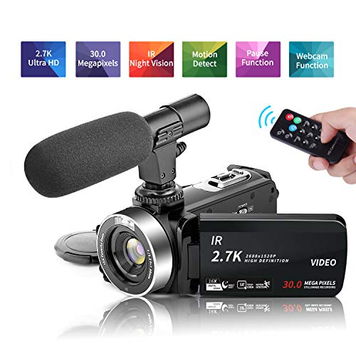 Video Camera Camcorder Vlogging Camera 2.7k(30FPS) 30MP 3.0 inch Screen support Night Vision Vlog camera Microphone Remote Control