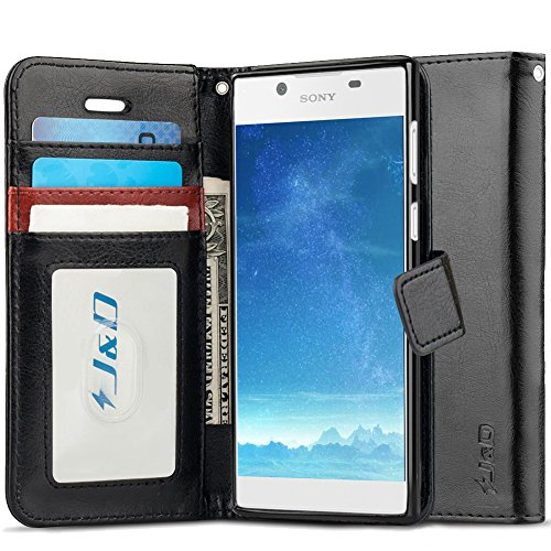 J&D Case Compatible for Xperia L1 Case, [Wallet Stand] [Slim Fit] Heavy Duty Protective Shock Resistant Flip Cover Wallet Case for Sony Xperia L1 Wallet Case - Black (Sony Xperia J Case)