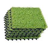 EcoMatrix Artificial Grass Tiles Interlocking Fake Grass Deck Tile Synthetic Grass Turf Carpet Mat for Patio Balcony Garden Flooring Decor 1'x1' (6 Packs)