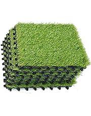 ECO MATRIX Artificial Grass Tiles Interlocking Fake Grass Deck Tile Synthetic Grass Turf Carpet Mat for Patio Balcony Garden Flooring Decor