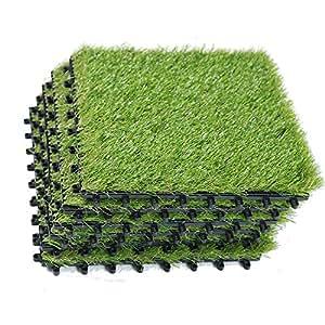 Ecomatrix Artificial Grass Tiles Interlocking Fake Grass