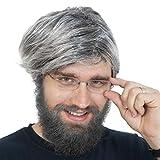 Skeleteen Grey Old Man Wig - Salt and Pepper Hair