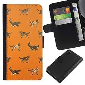 Stuss Case / Funda Carcasa PU de Cuero - Gatito anaranjado lindo patrón - Sony Xperia Z3 D6603