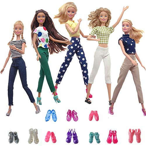 HUICAO 5 Sets Fashion Casual Wear Outfits and 5 Sets Shoes for 11.5-Inch Girl Doll(Random Style)