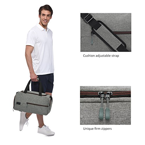 MarsBro Water Resistant Sports Gym Travel Weekender Duffel Bag with Shoe Compartment Grey by MarsBro (Image #3)