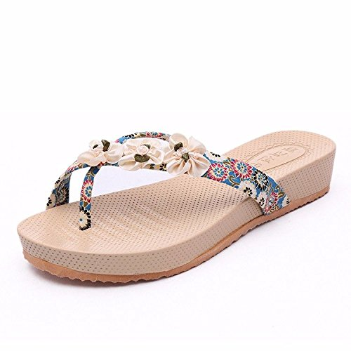 Fashion flat British toe beach slippers LIUXINDA bottomed skid XZ sets flowers leisure blue proof fashion 8H5tw