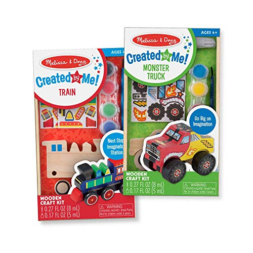 Melissa & Doug Created by Me! Paint & Decorate Your Own Wooden Vehicles Craft Kit for Kids 2 Pack - Monster Truck, Train