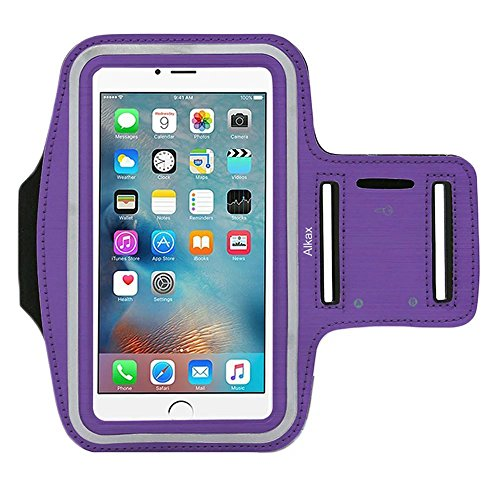iPhone 6S Armband, iPhone 6 Armband, iPhone SE Armband, iPhone 5S Armband,Alkax Sports Exercise Water Resistant Armband Running Pouch Touch With Key Holder For Walking+One Free Stylus Pen(Purple)