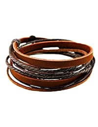 Jirong Brown Leather Wristband cuff bracelet, friendship gift, black ropes bracelet, women wrap bracelet, men wrap bracelet SL2338