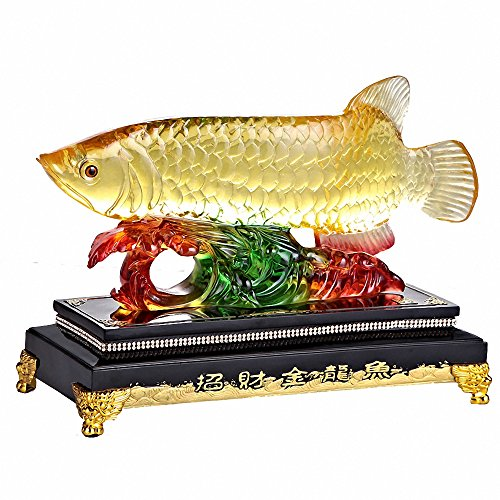 Fish statues collectibles for Arowana tank decoration
