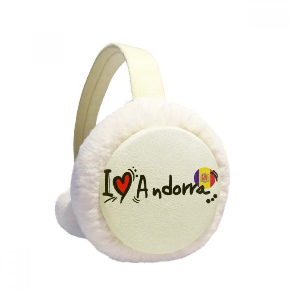 I Love Andorra Word Flag Love Heart Illustration Winter Earmuffs Ear Warmers Faux Fur Foldable Plush Outdoor Gift