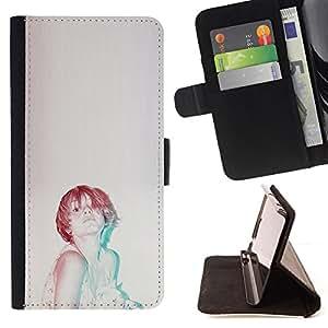 """For Samsung Galaxy Note 5 5th N9200,S-type Jengibre Mujer Vignette Retro"""" - Dibujo PU billetera de cuero Funda Case Caso de la piel de la bolsa protectora"""
