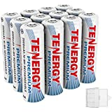 Tenergy Premium Rechargeable AA Batteries, High Capacity 2500mAh NiMH AA Battery, AA Cell Battery, 12-Pack with 3 AA Battery Holders