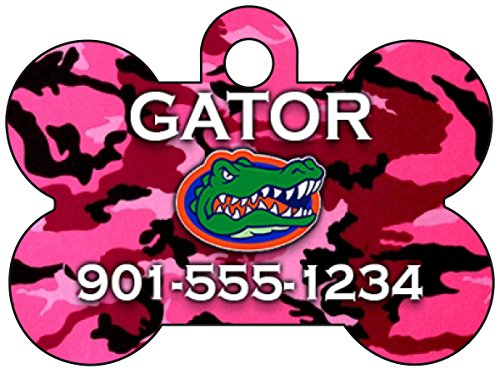(NCAA Camo Pink Pet Id Tag for Dogs & Cats Personalized w/ Name & Number (Florida Gators))