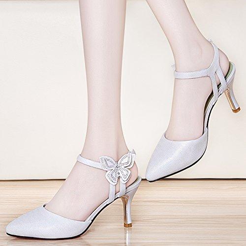 Sandalias tacón de alto Baotou de tacón Baotou Zapatos zapatos con white Zapatos alto Verano alto de Cómodo Wild Summer Sandalias tacón de VIVIOO mujer con qnwIYv4w