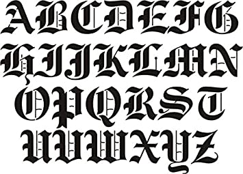 Airbrush Temporary Tattoo Stencil Template Set 112b Big Old English Capital Letters A Z Approx Size 2 X By Island Tribal Designs Inc Amazoncouk