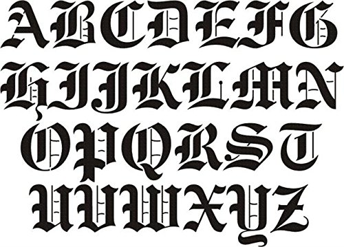 Amazon airbrush temporary tattoo stencil template set 112b big amazon airbrush temporary tattoo stencil template set 112b big old english capital letters a z approx size 2 x 2 thecheapjerseys Choice Image