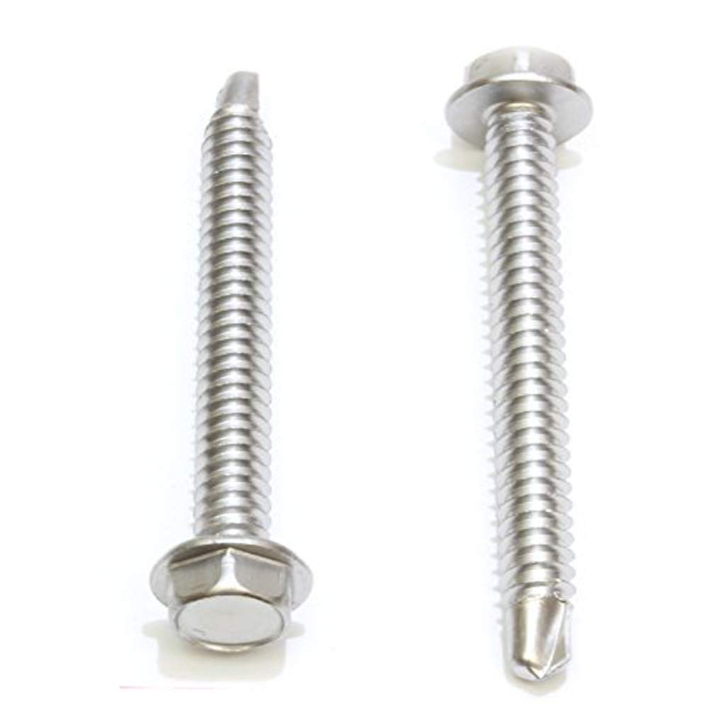 410 Stainless Steel Self Tapping Choose Size and Qty 100 pc #12 X 3//4 Stainless Hex Washer Head Self Drilling Screws,