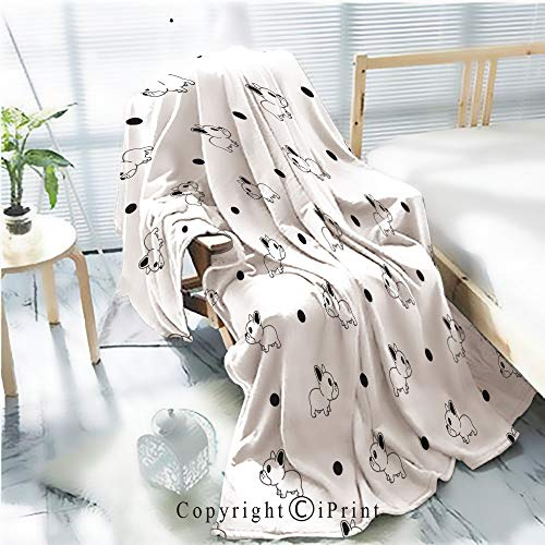 Printed Soft Blanket Premium Blanket,Dog Seamless Pattern Vector French Bulldog Polka dot Tile Background Scarf Isolated Wallpaper Microfiber Aqua Blanket for Couch Bed Living Room,W59.1 xH78.7]()