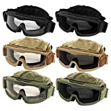 Outdoor Tactical Vented Safety Airsoft Goggles CS Paintball Glasses Interchangeable 3 Lens Kit