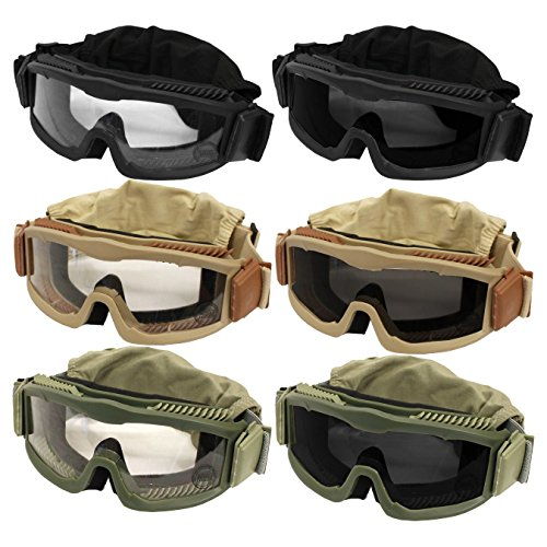 Outdoor-Tactical-Vented-Safety-Airsoft-Goggles-CS-Paintball-Glasses-Interchangeable-3-Lens-Kit