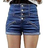 HHLJ Womens High Waisted Buckle Sailor Denim Shorts with Stretch Folded Hem Hot Pants (XL(9-11), Blue)