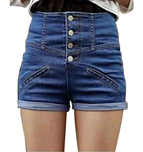 HHLJ Womens High Waisted Buckle Sailor Denim Shorts with Stretch Folded Hem Hot pants (S(3-5), Blue)