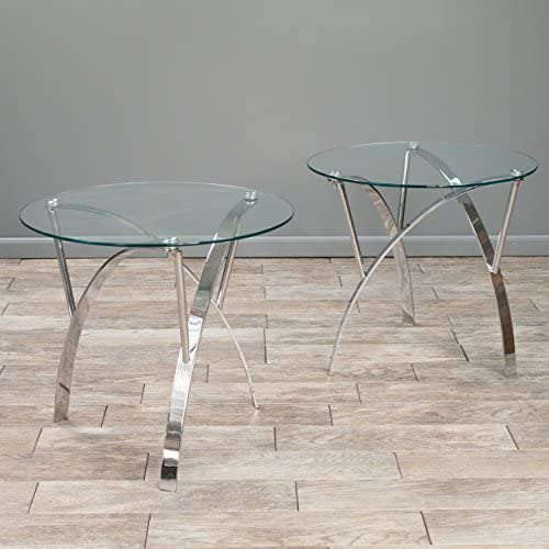 Christopher Knight Home Marin Round Glass End Table Set Of 2 , Clear
