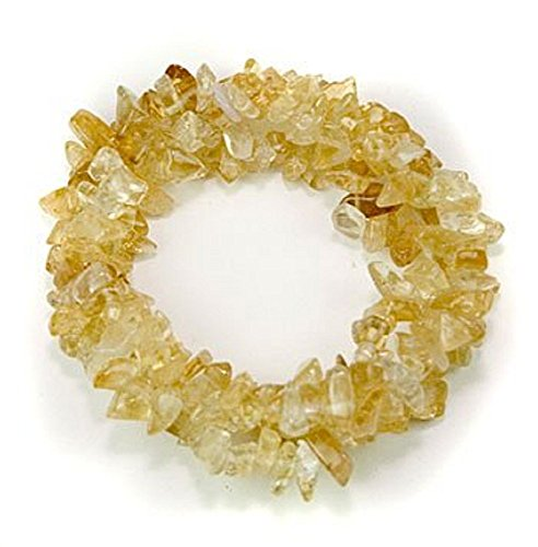 (1 Natural Healing Crystal Chakra Tripple Twist Braided Citrine Chip Gemstone 7 Inch Stretch Bracelet)