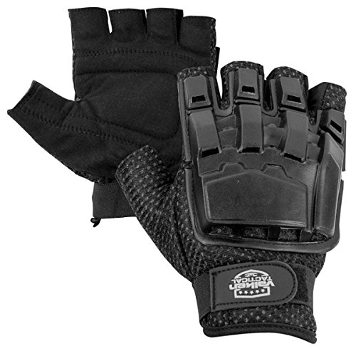 Valken Half Finger Plastic Back Gloves, Black, X-Small/Small