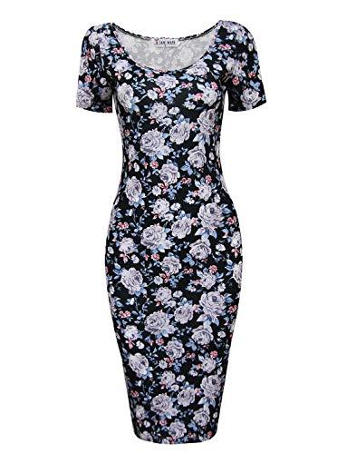 TAM WARE Women's Sweetheart Short Sleeve Midi Dress TWCWD053-BLACKWHITE-US M ()