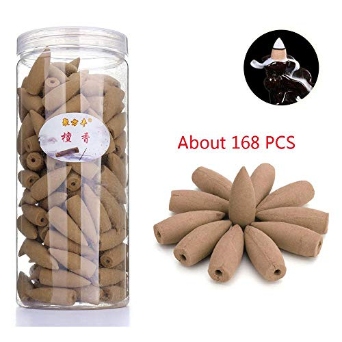 168PCs Backflow Incense Cones Sandalwood Lavender Aromatherapy Backflow Incense Sticks Natural Fragrance Bullet Tower Cone Scents for Backflow Incense Burner Holder (Sandalwood Scent)