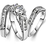 3pcsset 925 Sterling Silver Gemstone Wedding Engagement Band Rings (7)