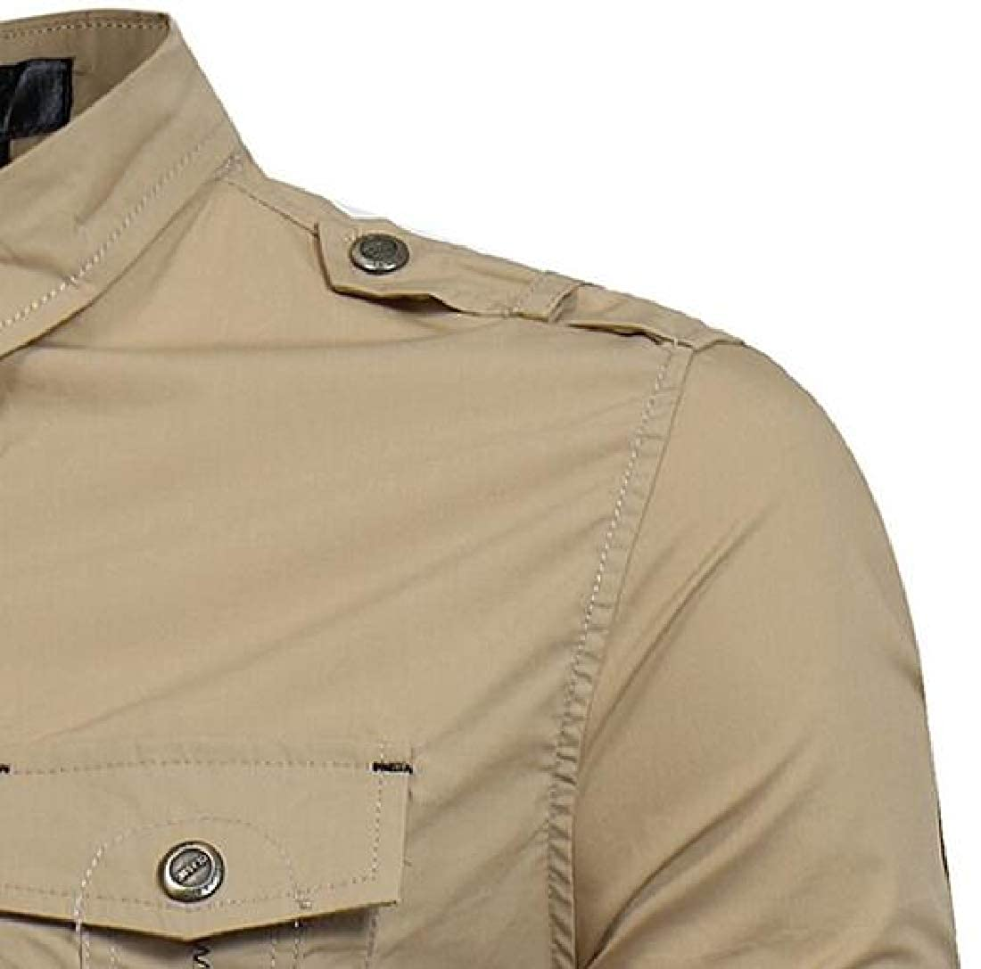 X-Future Men Slim Military Button Up Solid Color Long Sleeve Cargo Shirt