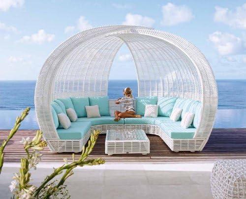 Sofa Chill Out de Rattan Sintetico : Modelo SPARTAN blanco envejecido: Amazon.es: Jardín