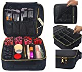 Facial Tissue Box Cover - Makeup Train Case, FLYMEI Portable Travel Makeup Case Waterproof Cosmetic Organizer Kit Make Up Artist Storage for Cosmetics, Makeup Brush Set, Jewelry, Toiletry And Travel Accessories (Black)