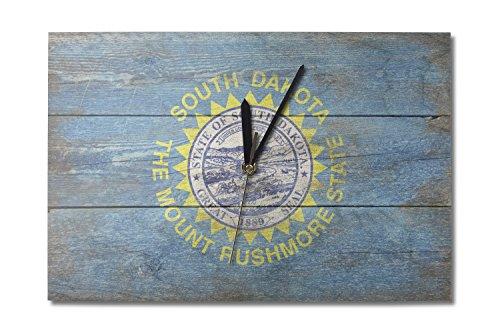 Lantern Press Rustic South Dakota State Flag (10x15 Wood Wall Clock, Decor Ready to Hang)