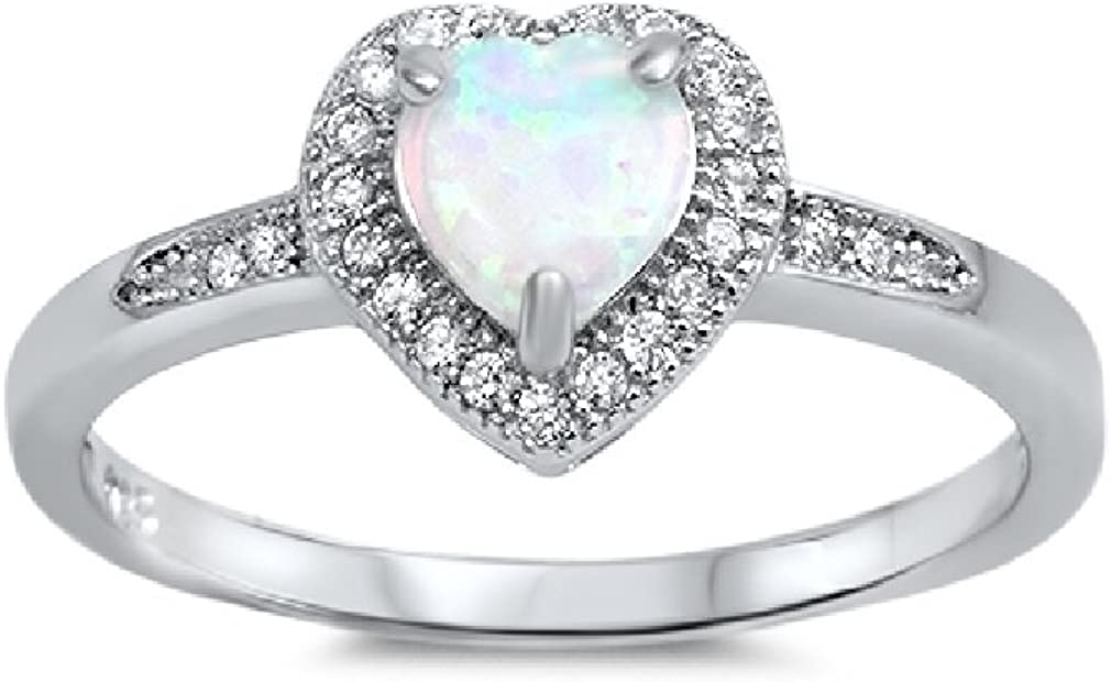 CloseoutWarehouse White Simulated Opal Surrounded by Clear Stones Cubic Zirconia Heart Ring Sterling Silver