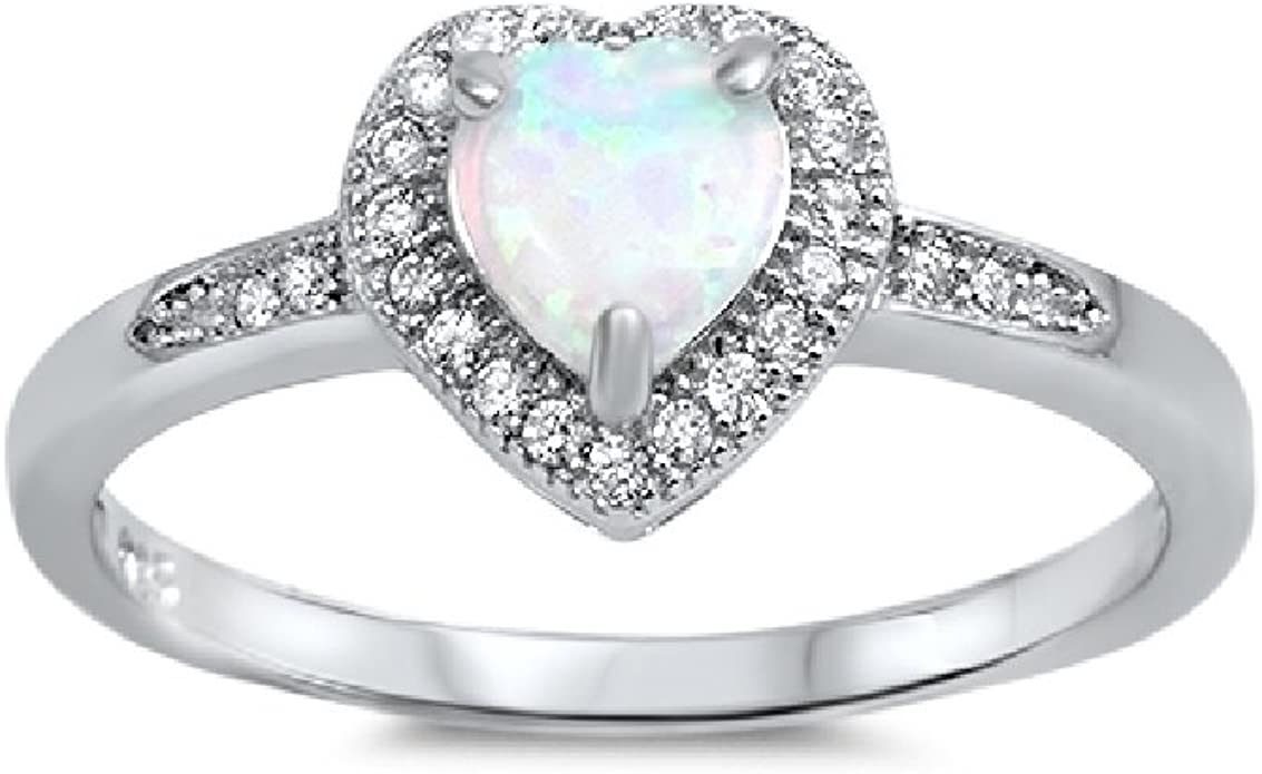 CloseoutWarehouse White Simulated Opal Cubic Zirconia Heart Ring Sterling Silver