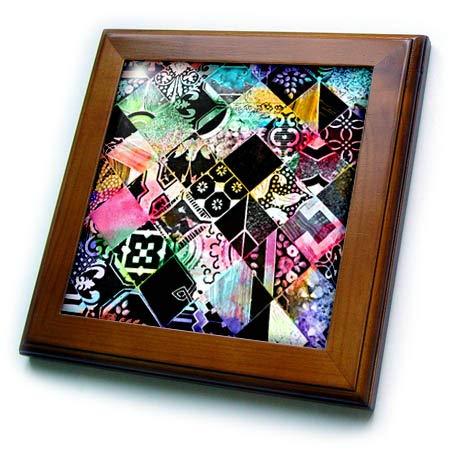 (3dRose InspirationzStore - Tile Graphics - Image of Colorful Rainbow Decorative Tile Diamonds Stylish Multicolor - 8x8 Framed Tile (ft_318748_1))